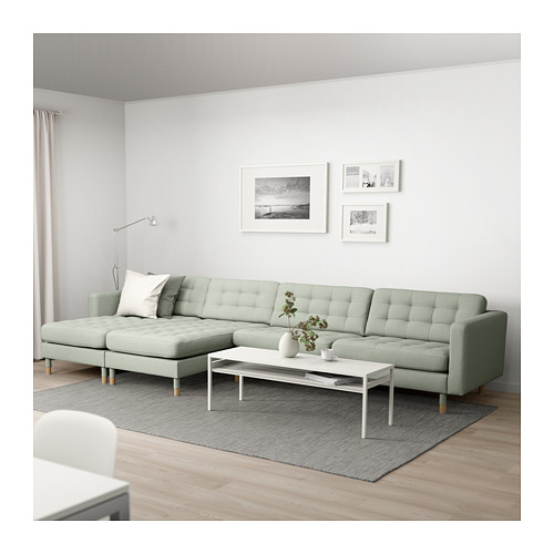 LANDSKRONA - 五座位梳化, 連躺椅/Gunnared 淺綠色/木 | IKEA 香港及澳門 - PE680409_S4