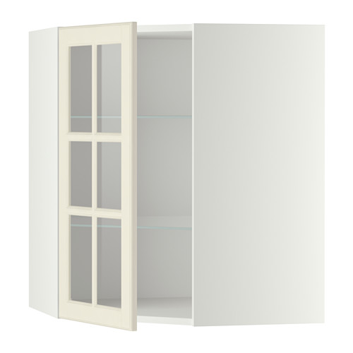 METOD - corner wall cab w shelves/glass dr, white/Bodbyn off-white | IKEA Hong Kong and Macau - PE357653_S4