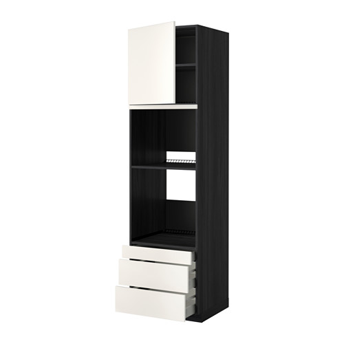 METOD - 焗爐用高櫃連抽屜櫃門組合, 黑色 Maximera/Veddinge 白色 | IKEA 香港及澳門 - PE357040_S4