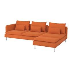 SÖDERHAMN - 4-seat sofa, with chaise longue and open end/Samsta orange   IKEA Hong Kong and Macau - PE768564_S3