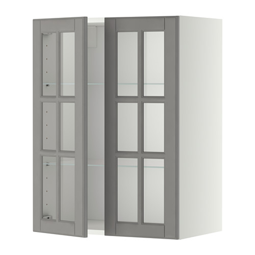 METOD - wall cabinet w shelves/2 glass drs, white/Bodbyn grey | IKEA Hong Kong and Macau - PE353507_S4
