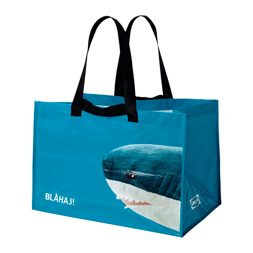 RUMPLING - 購物袋,大, 藍色/鯊魚   IKEA 香港及澳門 - PE824985_S4
