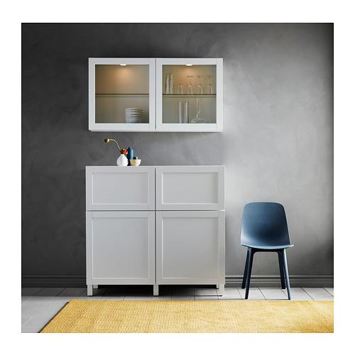 BESTÅ - 貯物組合連門/抽屜, white/Hanviken/Stubbarp white clear glass   IKEA 香港及澳門 - PH164494_S4
