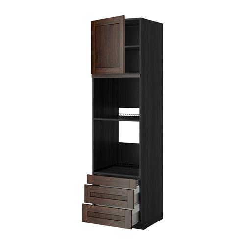 METOD - 焗爐用高櫃連抽屜櫃門組合, 黑色 Förvara/Edserum 褐色   IKEA 香港及澳門 - PE352465_S4