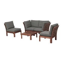 ÄPPLARÖ - 4-seat conversation set, outdoor, brown stained/Frösön/Duvholmen dark grey | IKEA Hong Kong and Macau - PE680951_S3