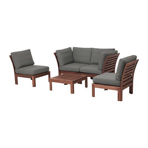 ÄPPLARÖ - 4-seat conversation set, outdoor, brown stained/Frösön/Duvholmen dark grey | IKEA Hong Kong and Macau - PE680951_S4