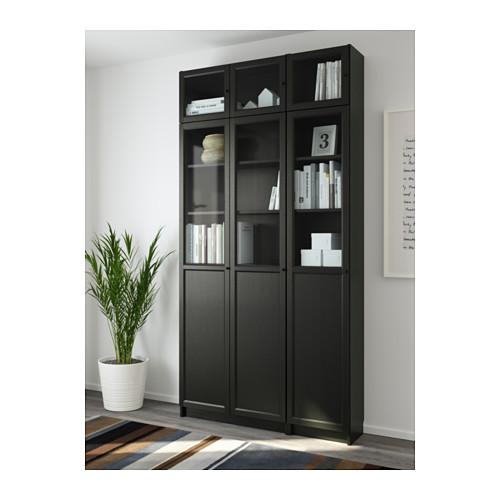 BILLY/OXBERG - bookcase, black-brown/glass   IKEA Hong Kong and Macau - PE632948_S4