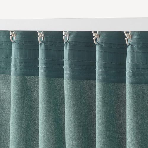 HANNALENA - 半遮光窗簾,一對, 綠藍色   IKEA 香港及澳門 - PE769373_S4