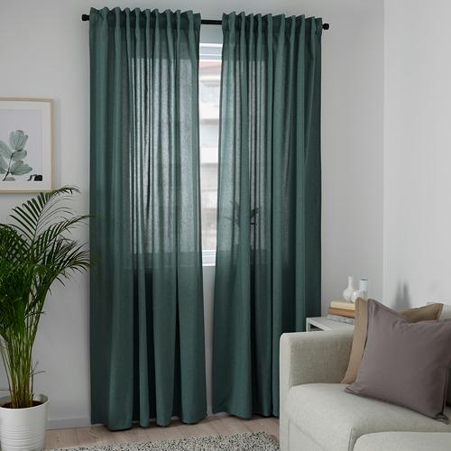 HANNALENA - 半遮光窗簾,一對, 綠藍色   IKEA 香港及澳門 - PE769375_S4