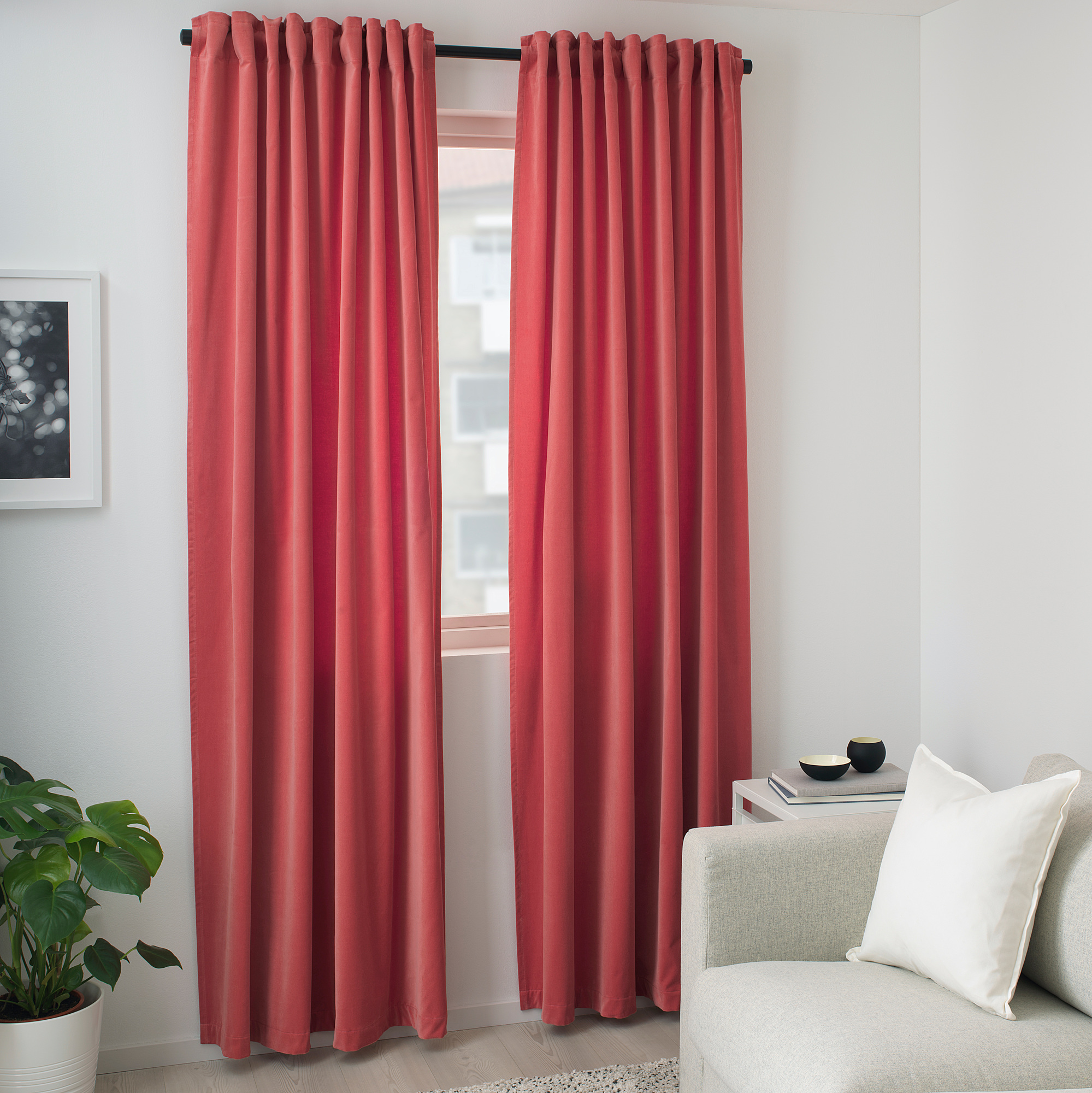 Sanela Room Darkening Curtains 1 Pair Light Brown Red