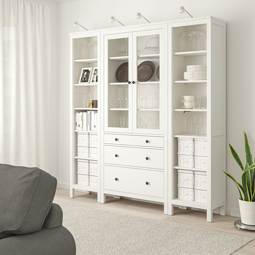 HEMNES - 貯物組合連門/抽屜, 染白色/透明玻璃   IKEA 香港及澳門 - PE725025_S4