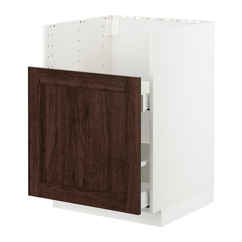 METOD/MAXIMERA - bc f BREDSJÖN snk/1 frnt/2 drws, white/Edserum brown | IKEA Hong Kong and Macau - PE725118_S4