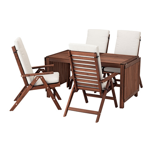 ÄPPLARÖ - table+4 reclining chairs, outdoor, brown stained/Frösön/Duvholmen beige | IKEA Hong Kong and Macau - PE681361_S4
