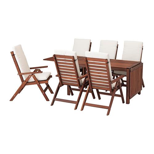 ÄPPLARÖ - table+6 reclining chairs, outdoor, brown stained/Frösön/Duvholmen beige | IKEA Hong Kong and Macau - PE681362_S4