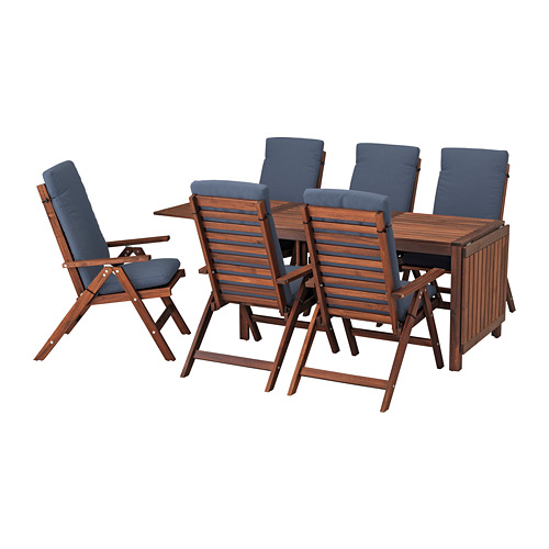 ÄPPLARÖ table+6 reclining chairs, outdoor