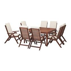 ÄPPLARÖ - 餐檯連8張躺椅組合, 染褐色/Frösön/Duvholmen 米黃色   IKEA 香港及澳門 - PE681368_S3