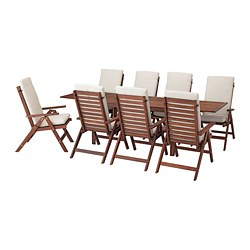 ÄPPLARÖ - table+8 reclining chairs, outdoor, brown stained/Frösön/Duvholmen beige | IKEA Hong Kong and Macau - PE681373_S3