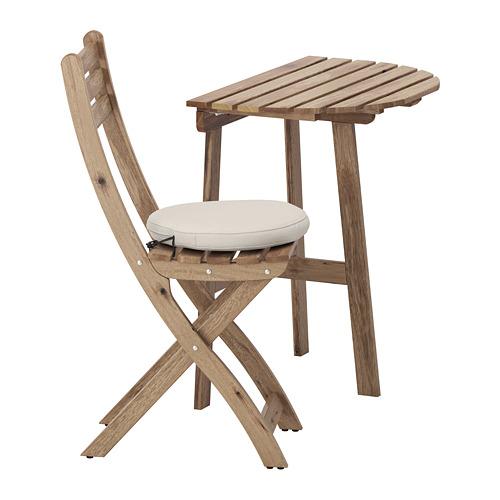 ASKHOLMEN - table for wall+1 fold chr, outdoor, grey-brown stained/Frösön/Duvholmen beige | IKEA Hong Kong and Macau - PE681378_S4