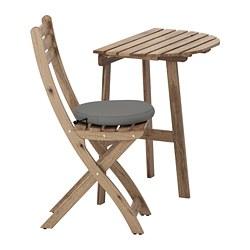 ASKHOLMEN - table for wall+1 fold chr, outdoor, grey-brown stained/Frösön/Duvholmen dark grey | IKEA Hong Kong and Macau - PE681379_S3