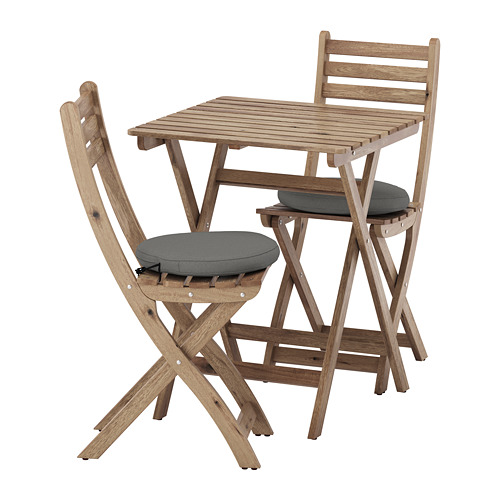 ASKHOLMEN - table and 2 folding chairs, outdoor, grey-brown stained/Frösön/Duvholmen dark grey | IKEA Hong Kong and Macau - PE681392_S4
