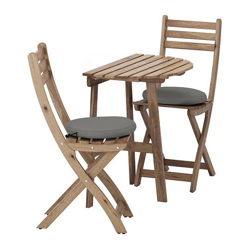 ASKHOLMEN - table f wall+2 fold chairs, outdoor, grey-brown stained/Frösön/Duvholmen dark grey | IKEA Hong Kong and Macau - PE681388_S4