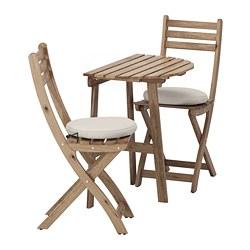 ASKHOLMEN - table f wall+2 fold chairs, outdoor, grey-brown stained/Frösön/Duvholmen beige | IKEA Hong Kong and Macau - PE681386_S3