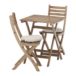 ASKHOLMEN - table and 2 folding chairs, outdoor, grey-brown stained/Frösön/Duvholmen beige | IKEA Hong Kong and Macau - PE681387_S3
