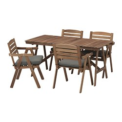 FALHOLMEN - table+4 chairs w armrests, outdoor, light brown stained/Frösön/Duvholmen dark grey | IKEA Hong Kong and Macau - PE681402_S3
