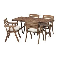 FALHOLMEN - table+4 chairs w armrests, outdoor, light brown stained/Frösön/Duvholmen beige | IKEA Hong Kong and Macau - PE681405_S3