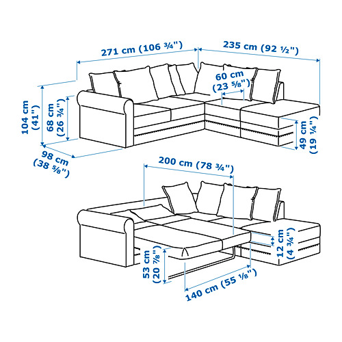 GRÖNLID - corner sofa-bed, 4-seat, with open end/Sporda dark grey | IKEA Hong Kong and Macau - PE725329_S4