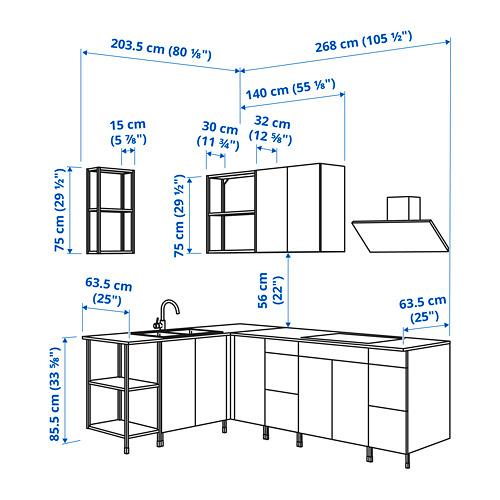 ENHET - 角位廚房, 炭黑色/仿混凝土 白色   IKEA 香港及澳門 - PE825215_S4