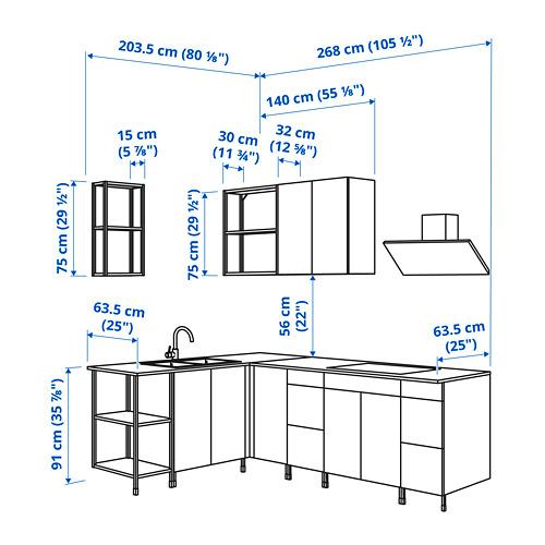 ENHET - 角位廚房, 炭黑色/仿混凝土 白色 | IKEA 香港及澳門 - PE825216_S4