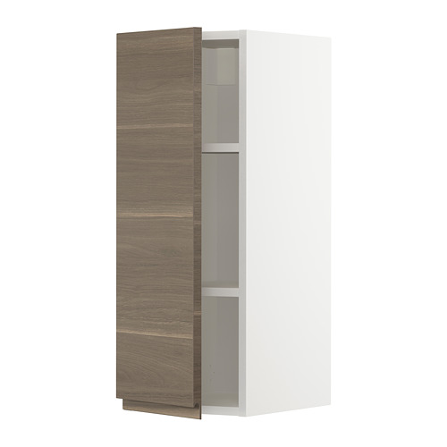 METOD - wall cabinet with shelves, white/Voxtorp walnut effect | IKEA Hong Kong and Macau - PE725491_S4