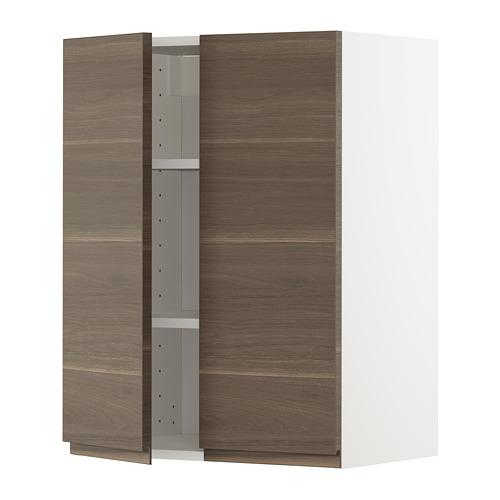 METOD - wall cabinet with shelves/2 doors, white/Voxtorp walnut effect | IKEA Hong Kong and Macau - PE725493_S4