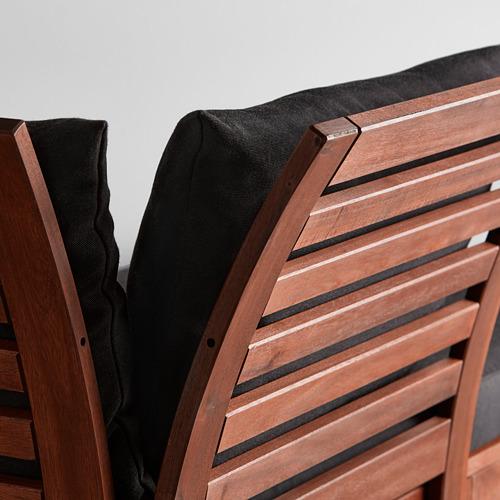 ÄPPLARÖ - 2-seat modular sofa, outdoor, with footstool brown stained/Hållö black   IKEA Hong Kong and Macau - PE617334_S4
