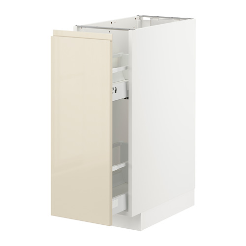 METOD - base cabinet/pull-out int fittings, white/Voxtorp high-gloss light beige | IKEA Hong Kong and Macau - PE725523_S4