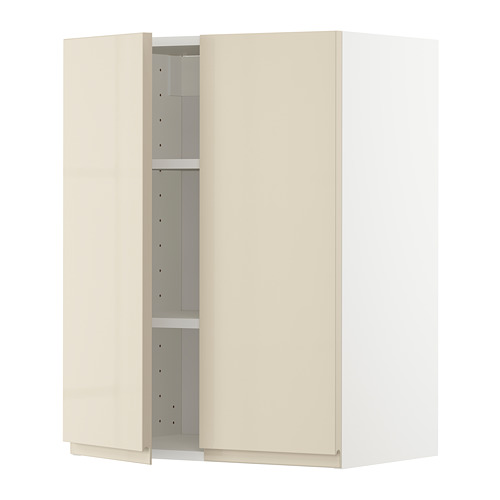 METOD - 吊櫃連層板/雙門, white/Voxtorp high-gloss light beige | IKEA 香港及澳門 - PE725531_S4