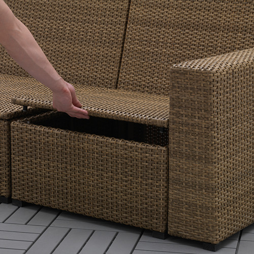 SOLLERÖN - modular corner sofa 4-seat, outdoor, with footstool brown/Frösön/Duvholmen dark grey | IKEA Hong Kong and Macau - PE656970_S4
