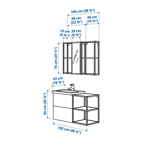 TVÄLLEN/ENHET - 浴室貯物組合 15件裝, oak effect/white Ensen tap | IKEA 香港及澳門 - PE825385_S4