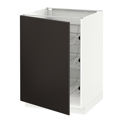 METOD base cabinet with wire baskets