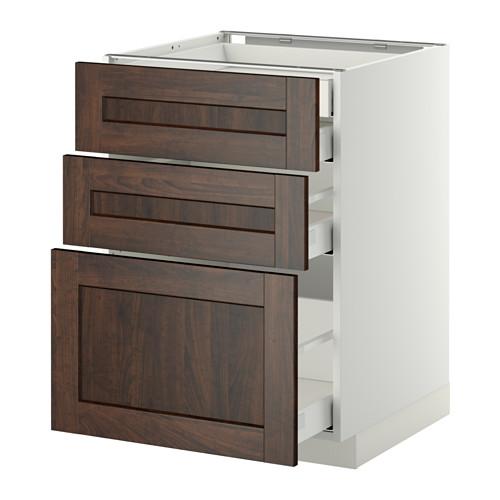 METOD - base cb 3 frnts/2 low/1 md/1 hi drw, white Maximera/Edserum brown | IKEA Hong Kong and Macau - PE358100_S4