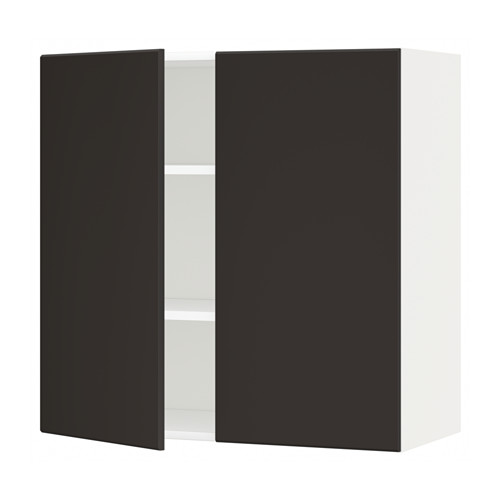 METOD - wall cabinet with shelves/2 doors, white/Kungsbacka anthracite | IKEA Hong Kong and Macau - PE633966_S4
