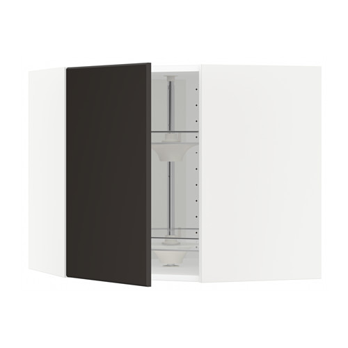 METOD - corner wall cabinet with carousel, white/Kungsbacka anthracite   IKEA Hong Kong and Macau - PE634003_S4