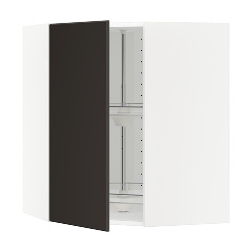 METOD - corner wall cabinet with carousel, white/Kungsbacka anthracite | IKEA Hong Kong and Macau - PE633998_S4