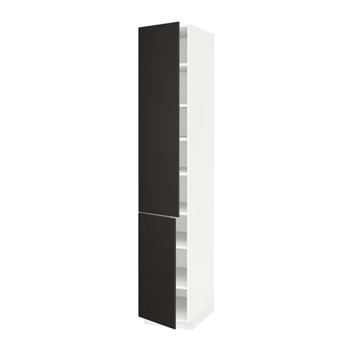 METOD - high cabinet with shelves/2 doors, white/Kungsbacka anthracite | IKEA Hong Kong and Macau - PE634004_S4