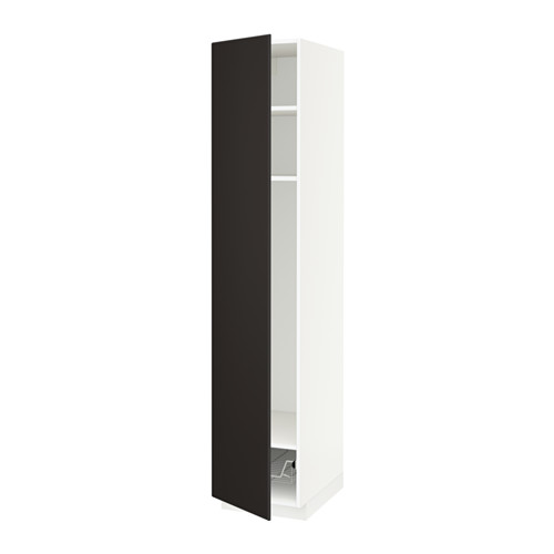 METOD - high cabinet w shelves/wire basket, white/Kungsbacka anthracite | IKEA 香港及澳門 - PE634380_S4