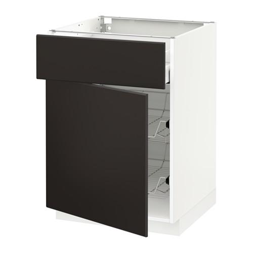 METOD/MAXIMERA - 地櫃連鋼條籃/抽屜/門, white/Kungsbacka anthracite | IKEA 香港及澳門 - PE634081_S4