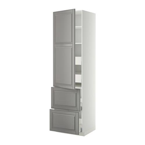 METOD/MAXIMERA - hi cab w shlvs/4 drawers/dr/2 frnts, white/Bodbyn grey | IKEA 香港及澳門 - PE358363_S4