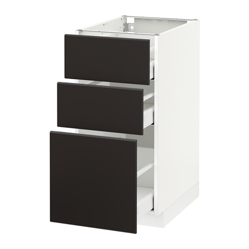 METOD - base cabinet with 3 drawers, white Maximera/Kungsbacka anthracite | IKEA Hong Kong and Macau - PE634131_S4