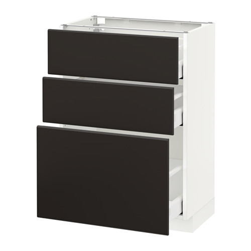 METOD - base cabinet with 3 drawers, white Maximera/Kungsbacka anthracite | IKEA Hong Kong and Macau - PE634121_S4